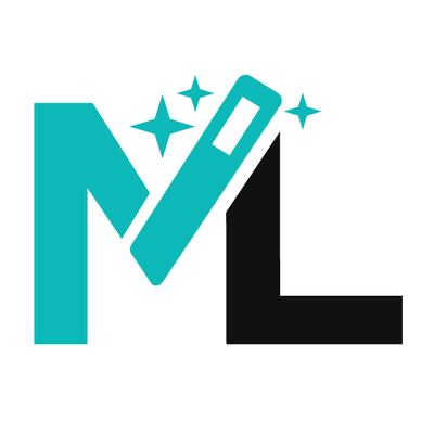 Blue and black logo of combined letters M and L with a magic wand in the M and three sparkles for Magiclinks